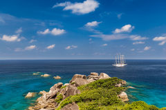 Tropical island beach and clear blue lagoon water with blue sky at Similan Island, Phang Nga Province, South of Thailand Stock Image
