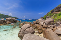Tropical island beach and clear blue lagoon water with blue sky at Similan Island, Phang Nga Province, South of Thailand Royalty Free Stock Photo