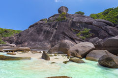 Tropical island beach and clear blue lagoon water with blue sky at Similan Island, Phang Nga Province, South of Thailand Stock Photo