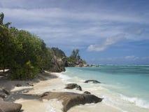 Tropical island beach. La Digue island beach , Seychelles, Africa Royalty Free Stock Image