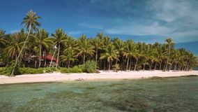 Tropical island beach panorama, view from ocean, Siargao, Philippines. Tropical island beach panorama, view from ocean, Siargao Island, Philippines stock video