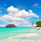 Tropical island beach perfect blue sky Nature landscape. Tropical island beach with perfect blue sky. Nature landscape Stock Images