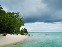 Tropical island beach with perfect sky Stock Photography