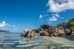 Tropical island beach, Source d'argent, La Digue, Seychelles Stock Photos