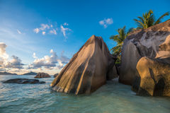Tropical island beach, Source d'argent, La Digue, Seychelles Royalty Free Stock Photography