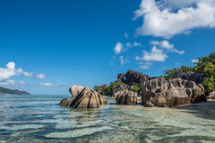Tropical island beach, Source d'argent, La Digue, Seychelles Stock Photos