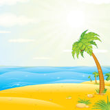 Tropical Island Beach. Vector Illustration Stock Image