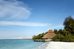 Tropical island beach villa, Indian Ocean Stock Photos