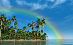 Tropical Island With Big Rainbow Royalty Free Stock Images