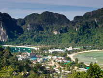 Tropical island. Bird eye view. View from the highest point of Ko Phi-Phi island in Thailand royalty free stock photo