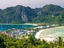 Tropical island. Bird eye view. View from the highest point of Ko Phi-Phi island in Thailand stock photography