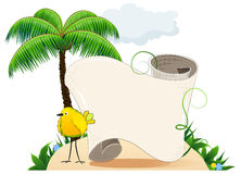 Tropical island with bird and  scroll for text Royalty Free Stock Images