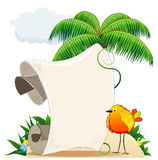 Tropical island with bird and  scroll for text Royalty Free Stock Photo