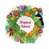 Tropical Island Birds, plants flowers. Tropical Island word on round Birds, plants and flowers background  illustration. Wreath of palm leaves, Humming-bird Stock Photo