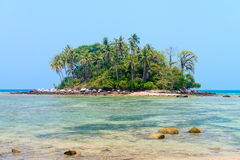 Tropical island in the blue sea Royalty Free Stock Image
