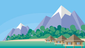 Tropical island and bungalows Stock Image