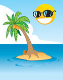 Tropical island. Cartoon illustration of a tropical island with coconut tree, blue ocean, cloud and a smiling sun Stock Photos