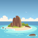 Tropical Island. Cartoon illustration of the small tropical island in the ocean Stock Images