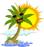 Tropical island with cartoon palm tree and sun Stock Photography