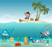 Tropical island with cartoon pirate boy. With fish and mermaid under water Royalty Free Stock Images