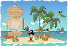 Tropical island with cartoon pirate boy. Stock Image