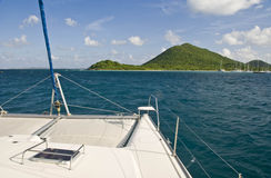 Tropical island from catamaran Stock Photo
