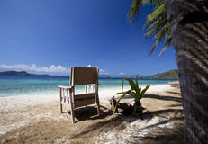 Tropical Island with chair Royalty Free Stock Photo