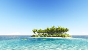 Tropical island with a clear sky 3D render. Tropical island with a clear blue sky 3D render Royalty Free Stock Photo