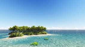 Tropical island with a clear sky 3D render. Tropical island with a clear blue sky 3D render Royalty Free Stock Images