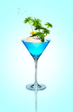 Tropical island in cocktail glass. Stock Image