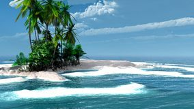 Tropical island with coconut palms Stock Image