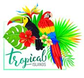 Tropical island composition with toucan parrot leaves flowers Stock Photos