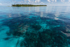 Tropical island in coral reef in Hol Chan Marine Reserve Belize royalty free stock photos