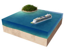 Tropical island and cruise ship Stock Photo