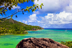 Tropical island Curieuse at Seychelles Stock Photo
