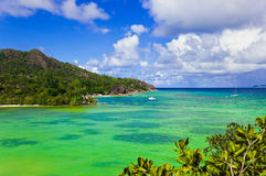 Tropical island Curieuse at Seychelles Royalty Free Stock Images