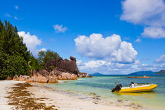 Tropical island Curieuse at Seychelles Royalty Free Stock Photo