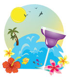 Tropical island drink. Tropical island holidays sea and drink Stock Images