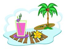 Tropical Island Drink and Palm Tree Stock Photos