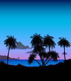 Tropical Island at Dusk Illustration. An illustration of a tropical paradise at dusk set with a silhouette of palm trees and a sparkling ocean, perfect for use vector illustration