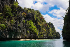 Tropical island in El Nido. One of the islands while island hopping in El Nido, Philippines. A perfect tropical paradise Royalty Free Stock Images