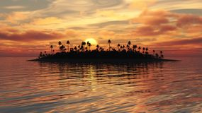 Tropical Island Fiery Sunset. Golden sunset over tropical island in calm ocean Stock Photography