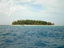 Tropical Island in Fiji. Paradise island seen from the ocean in Fiji stock images