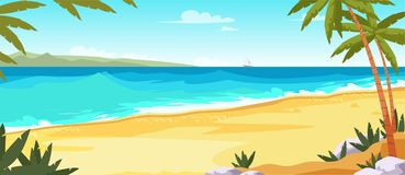 Tropical island flat vector color illustration royalty free illustration