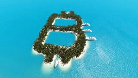 Tropical island in the form of Bitcoin stock footage