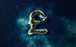 Tropical island in the form of the British pound symbol Royalty Free Stock Photography