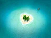 Tropical Island in form of heart Stock Images