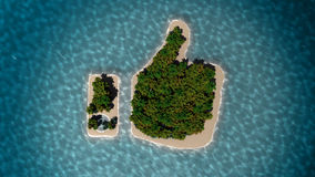 Tropical island in the form of thumb up. Success way. Tropical island in the form of the thumb up. 3D Illustration Royalty Free Stock Photography