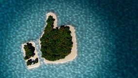 Tropical island in the form of thumb up. Success way. Tropical island in the form of the thumb up. 3D Illustration Stock Image