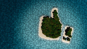 Tropical island in the form of thumb up. Success way. Tropical island in the form of the thumb up. 3D Illustration Stock Photo
